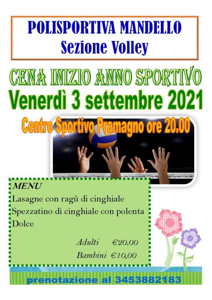 locandina cena volley settembre 2021